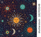 "seamless pattern ""sun and stars""... 