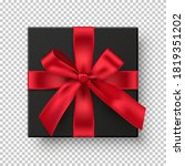 black gift boxe with red ribbon.... | Shutterstock .eps vector #1819351202