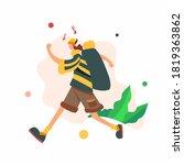 flat vector illustration young... | Shutterstock .eps vector #1819363862