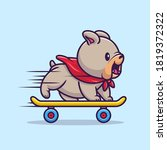 cute bulldog playing skateboard ... | Shutterstock .eps vector #1819372322
