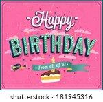 happy birthday typographic... | Shutterstock .eps vector #181945316