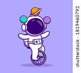 cute astronaut with unicycle... | Shutterstock .eps vector #1819460792