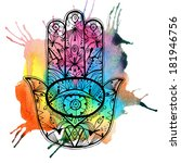 hand drawn boho hamsa hand with ... | Shutterstock . vector #181946756