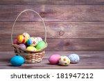 easter eggs on wooden background | Shutterstock . vector #181947212