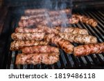 Grilling Meat On Barbecue Grill ...