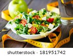 fitness salad and measuring... | Shutterstock . vector #181951742