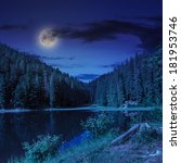 view on lake near the pine forest at night on mountain background  - stock photo
