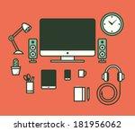 workspace. vector illustration. | Shutterstock .eps vector #181956062