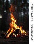 Beautiful Bonfire With Burning...