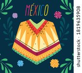 label mexico with poncho... | Shutterstock .eps vector #1819635908