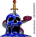 Skull Snake Evil And Knife...