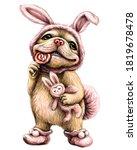 a bulldog puppy. wall sticker.  ... | Shutterstock .eps vector #1819678478