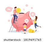large piggy bank. piglet and... | Shutterstock .eps vector #1819691765