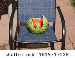 Swan Watermelon Carving On Blu...