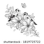 hand drawn goldfinch couple... | Shutterstock .eps vector #1819725722