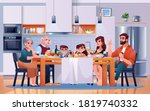 family dinner at kitchen table  ... | Shutterstock .eps vector #1819740332
