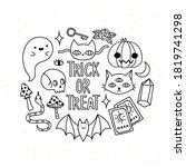 cute halloween set with... | Shutterstock .eps vector #1819741298
