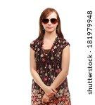 young woman with sunglasses | Shutterstock . vector #181979948