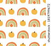 fall rainbow with pumpkin... | Shutterstock .eps vector #1819799672