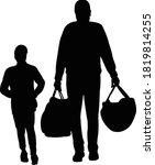 a boy and man walking ...   Shutterstock .eps vector #1819814255