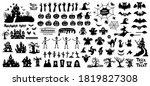set of silhouettes of halloween ... | Shutterstock .eps vector #1819827308