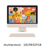 concept of videoconference and... | Shutterstock .eps vector #1819832918