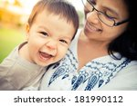 cute 1 year old asian boy... | Shutterstock . vector #181990112