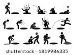 stick figure man and a hole on... | Shutterstock .eps vector #1819986335
