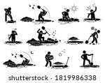 Stick Figure Man Digging Hole....