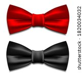 two bow ties   red and black  ... | Shutterstock . vector #1820034032