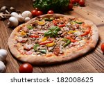 tasty pizza with mushrooms and... | Shutterstock . vector #182008625