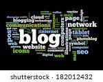 blog concept word cloud image | Shutterstock . vector #182012432