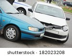 car crash collision accident on ... | Shutterstock . vector #182023208