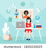 schoolkid studying from home...   Shutterstock .eps vector #1820233025