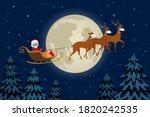 santa claus in face mask flying ...   Shutterstock .eps vector #1820242535