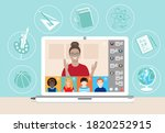 multi ethnic class of young... | Shutterstock .eps vector #1820252915