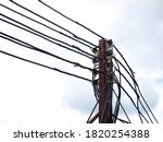 Many Electric Lines On Metal...