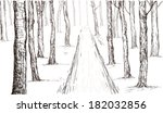 Forest Sketch Hand Drawing In...