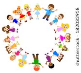 many children got up in a... | Shutterstock .eps vector #182032958