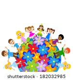 little child stand round floral ... | Shutterstock .eps vector #182032985