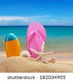 beach accessories for relaxing... | Shutterstock . vector #182034905
