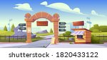 zoo gates with pointers to wild ... | Shutterstock .eps vector #1820433122