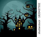 happy halloween background...   Shutterstock .eps vector #1820437532