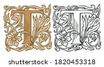 Initial Letter T With Vintage...