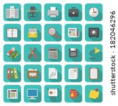 set of modern flat office icons ...
