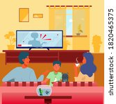 family watching tv. parenthood...   Shutterstock .eps vector #1820465375
