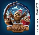 christmas owls on in wooden... | Shutterstock .eps vector #1820481572