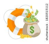 Money Bag In Lifebuoy. Dollars...
