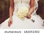 beautiful white roses wedding... | Shutterstock . vector #182052302