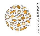 hand drawn set of bakery and... | Shutterstock .eps vector #1820550818